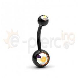 Μαύρο σκουλαρίκι αφαλού τιτανίου 50821