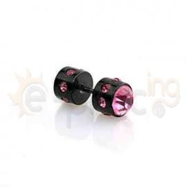 Μαύρη τάπα με ροζ πέτρες 8mm 50922