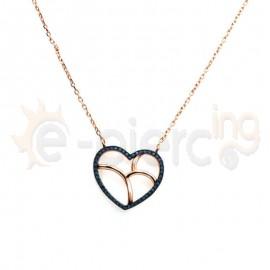 Κολιέ ασημένιο Rose Gold καρδιά με πέτρες ζιργκόν
