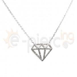 Ασημένιο κολιέ διαμάντι με πέτρες ζιργκόν