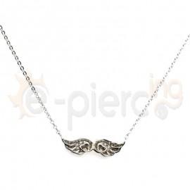 Κολιέ ασημένιο φτερά με πέτρες ζιργκόν