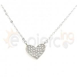 Κολιέ ασημένιο καρδιά με πέτρες ζιργκόν