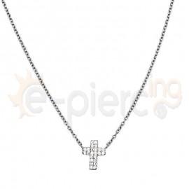 Κολιέ ασημένιο σταυρός με πέτρες ζιργκόν