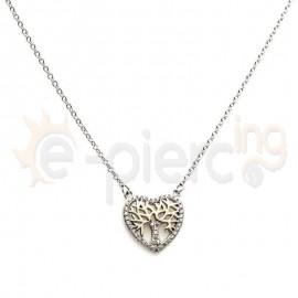 Κολιέ ασημένιο καρδιά δέντρο με πέτρες ζιργκόν