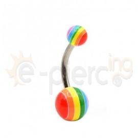 Σκουλαρίκι αφαλού με ακρυλικές μπίλιες Rasta 59590