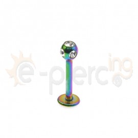 Rainbow σκουλαρίκι για χείλη 3mm με πέτρες