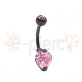 Μαύρο σκουλαρίκι αφαλού καρδιά 8mm 59853