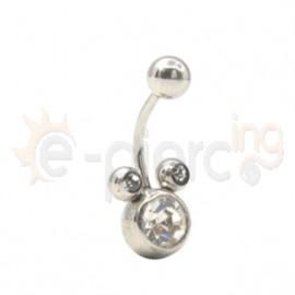 Σκουλαρίκι αφαλού με λευκές πέτρες 59862