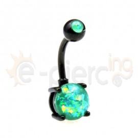 Μαύρο σκουλαρίκι αφαλού Opal 8mm 60018