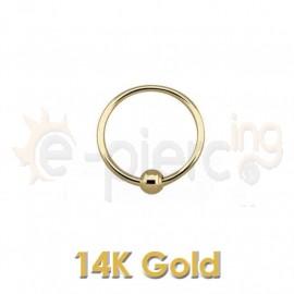 14K Χρυσός κρίκος μύτης 10mm με μπίλια 60042