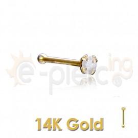 14K Χρυσό σκουλαρίκι μύτης 1,5mm με μπίλια 60043