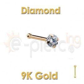 Diamond Prong Set 14k Gold Nose Ring Stud 60044