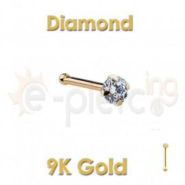 Diamond Prong Set 14k Gold Nose Ring Stud 60044