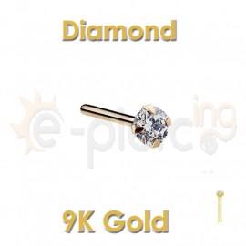 Diamond Prong Set 14k Gold Nose Ring Stud 60045