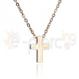Rose Gold σταυρός ατσάλι 316L Unisex 720389
