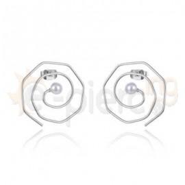 Σπιράλ σκουλαρίκια με πέρλα 750145