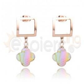 Ροζ σκουλαρίκια από ανοξείδωτο ατσάλι 750162