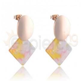 Ροζ σκουλαρίκια από ανοξείδωτο ατσάλι 750163
