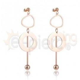 Ροζ σκουλαρίκια από ανοξείδωτο ατσάλι 750164