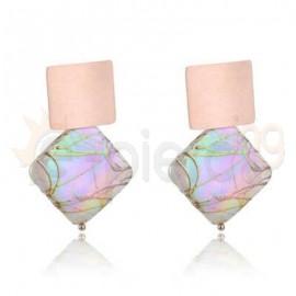 Ροζ σκουλαρίκια από ανοξείδωτο ατσάλι 750167