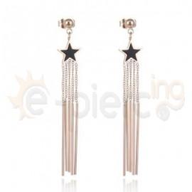 Ροζ σκουλαρίκια από ανοξείδωτο ατσάλι 750168