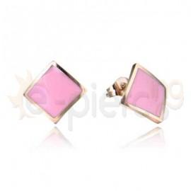 Ροζ σκουλαρίκια με ροζ σμάλτο 750172