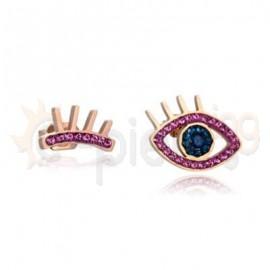 Ροζ σκουλαρίκια μάτι 750179