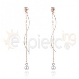 Ροζ σκουλαρίκια κρεμαστή πέρλα 750183